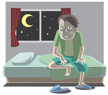 不眠で辛そうな男性のイラスト