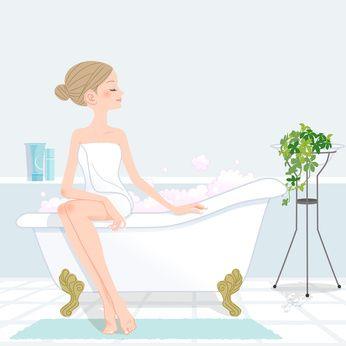 バスタブに座る女性のイラスト