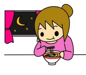 夜食にラーメンを食べる女性のイラスト