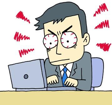 パソコンに集中している男性のイラスト
