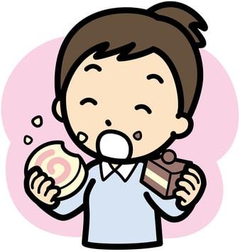 甘いものを頬張る女性のイラスト