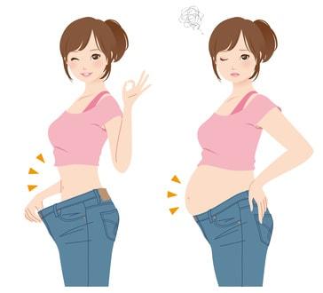 産後ダイエットに成功した女性のイラスト