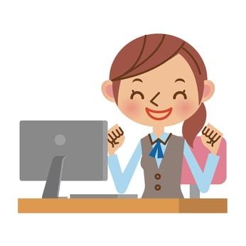 パソコンで事務作業をする女性のイラスト