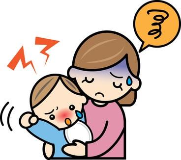 育児でストレスが溜まっているママのイラスト