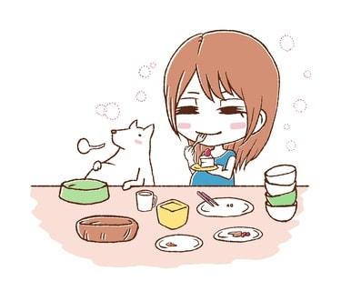 ドカ食いをしている女性のイラスト