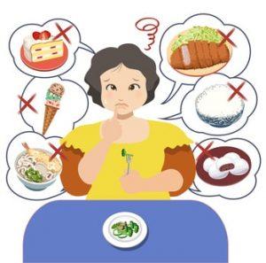 食事を我慢している女性のイラスト