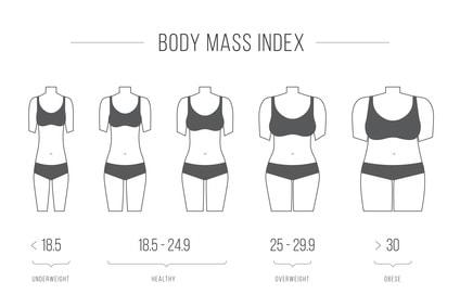 BMIを表した表のイラスト