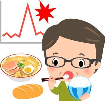 血糖値が上昇する男性のイラスト