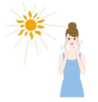 紫外線を浴びる女性のイラスト