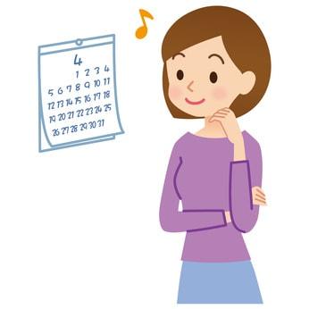 カレンダーを見る女性のイラスト
