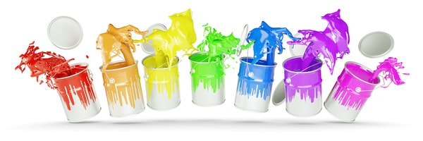 色々な色のペンキ